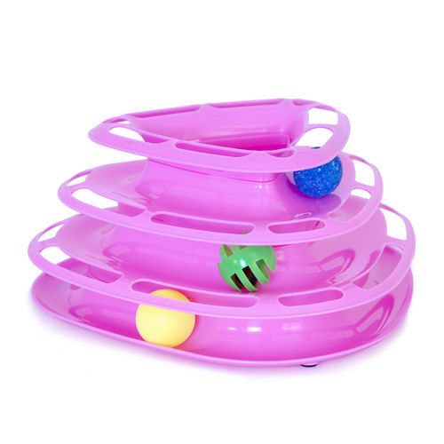 Cat Toy Ball Tower Pink