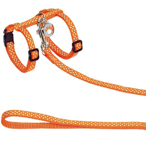 Nobby Dots Cat Harness & Leash Orange